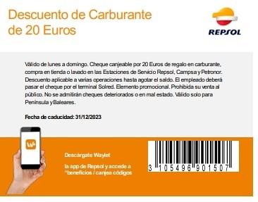 Cheque 20 euros REPSOL